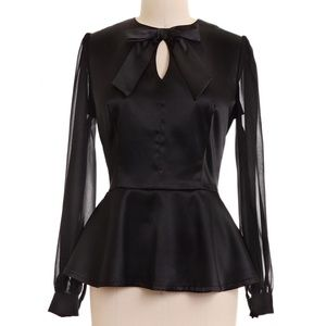 Retro 60s Style Pin Up Girl Peplum Top in Black